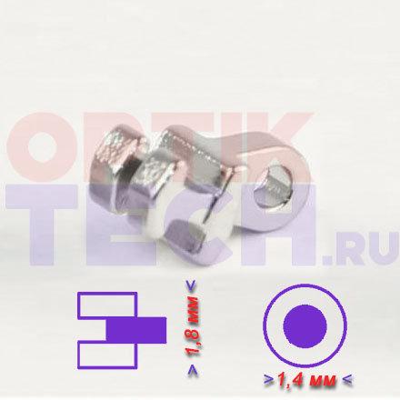 Шарнир №2 одинарный для пластиковой оправы  (1,8х1,4 мм), 20 шт.