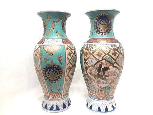 1970's Tonghzai Porcelain Enamel Vase Set