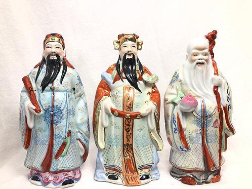 Yung Kee Fu, Lu, Shou Porcelain Figurines