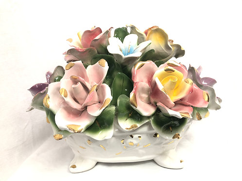 Italian hand painted Capodimonte Pot with Flowers