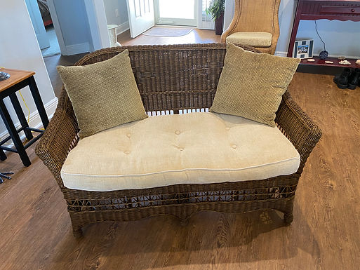 Wicker Love Seat with Cushion