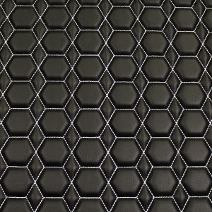 Quilt Diamond Hex White on  Black