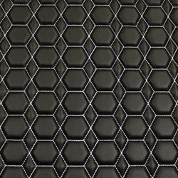 Quilt Diamond Hex White on  Black