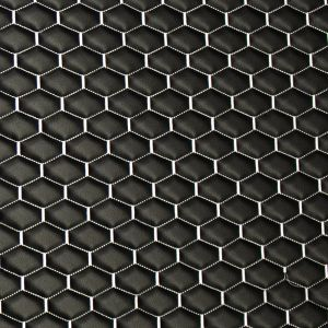 Quilt Long Hex White on  Black