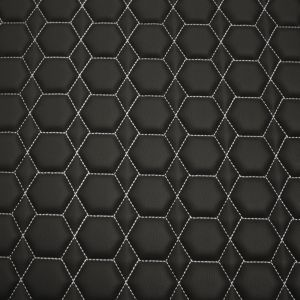 Quilt Diamond Hex Silver on Black