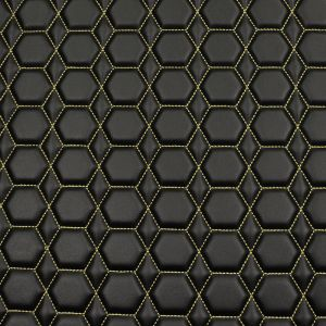 Quilt Diamond Hex Tan on  Black