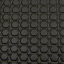 Quilt Diamond Hex Tan on  Black