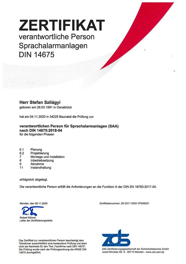 Zertifikat Sprachalarmanlagen