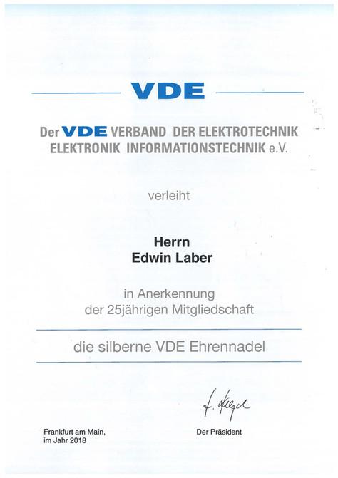 VDE Zertifikat - 25 Jahre