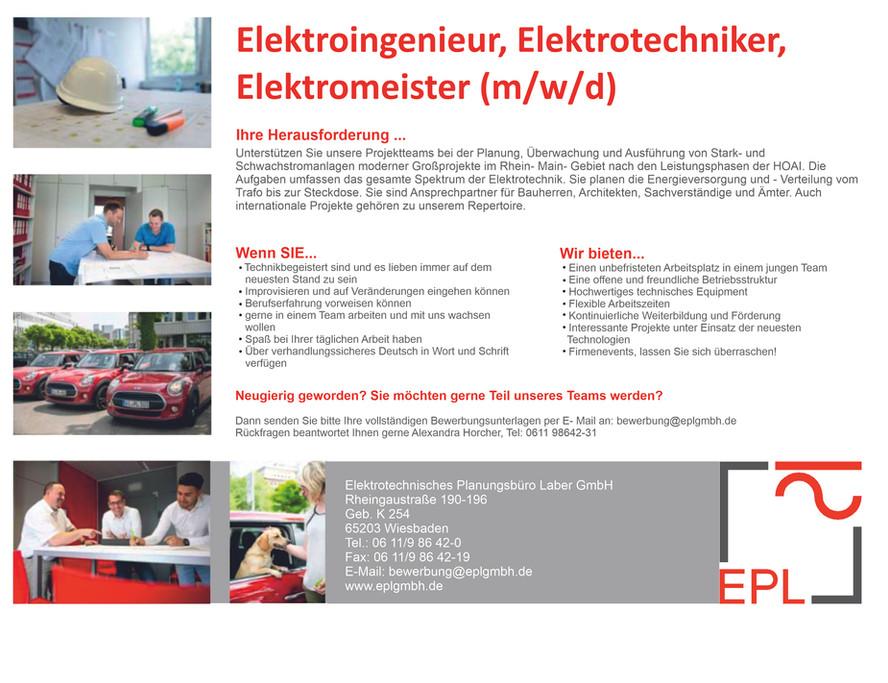 Stellenanzeige Elektroingenieur