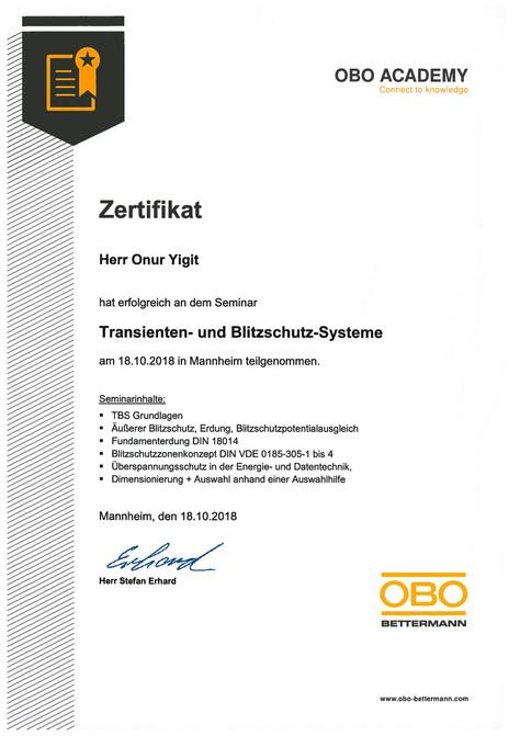 Zertifikat Transienten- und Blitzschutz-Systeme