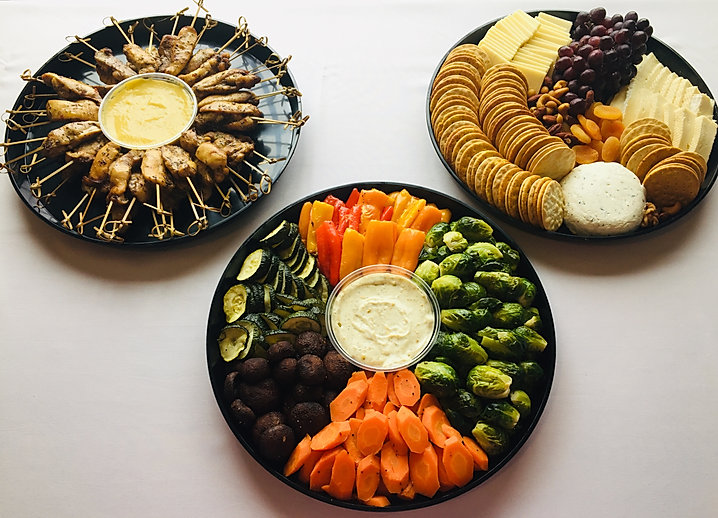 Roasted Vegetables, Jerk Chicken Skewers, Cheese & Nut Platter
