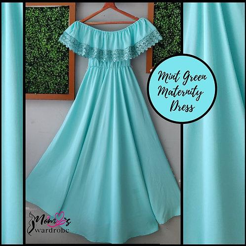 Mint green off shoulder dress