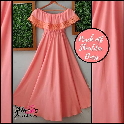 Peach off shoulder dress