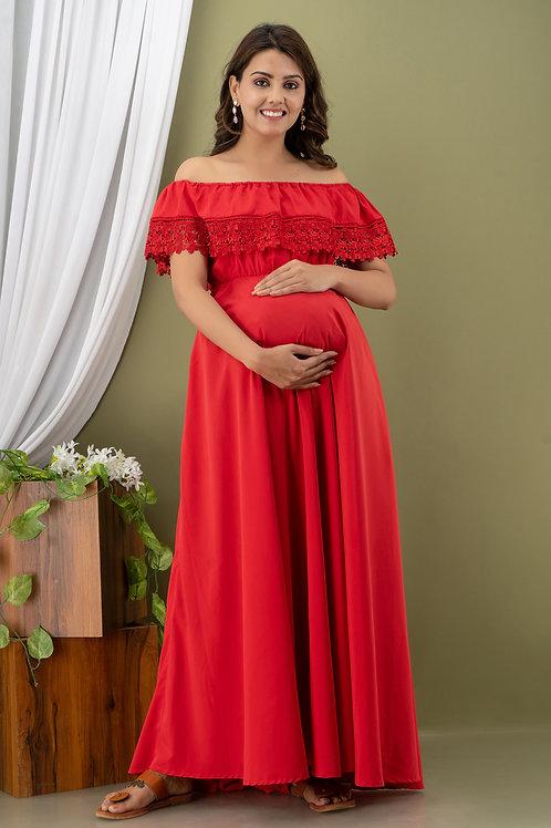 Red off shoulder maternity dress