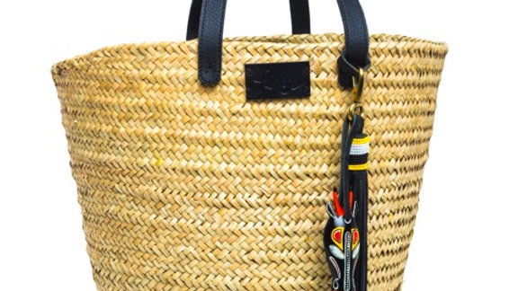Penrose Medium Weave Straw Basket with Wooden Antelope and Beaded Leather Tassel