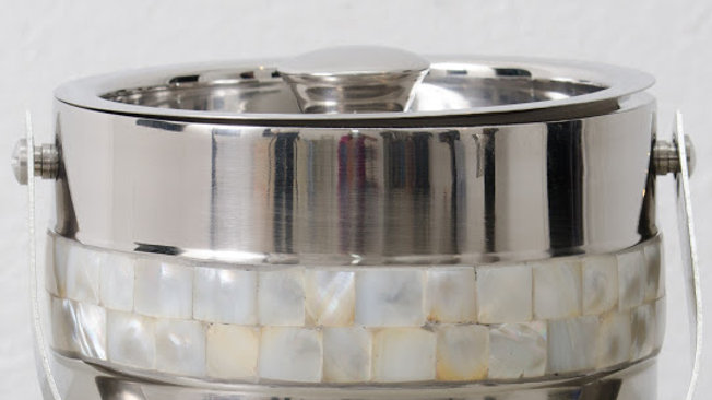 Premier Housewares Ice Bucket with Mother of Pearl Inlay Design, Silver