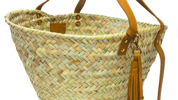 Penrose Wide weave straw basket w. amber leather handles & tassel and brass fish