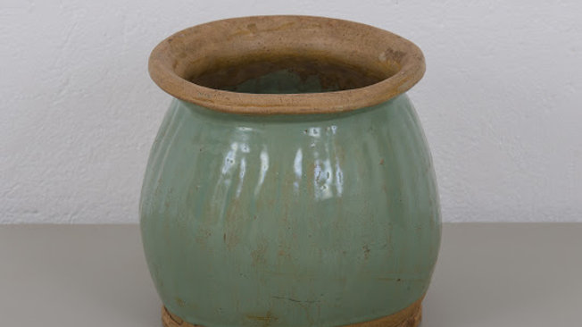 Antique Green Terracotta Urn