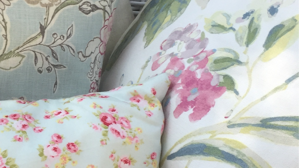 Pink & Green Floral Cushion