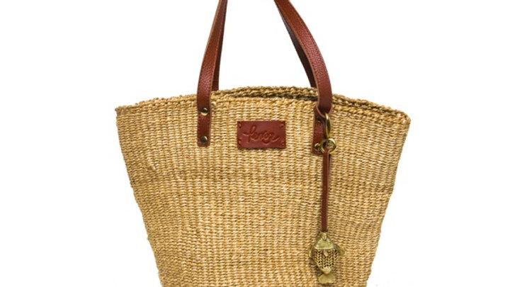 Penrose natural sisal mini basket, with leather handles and brass fish detail