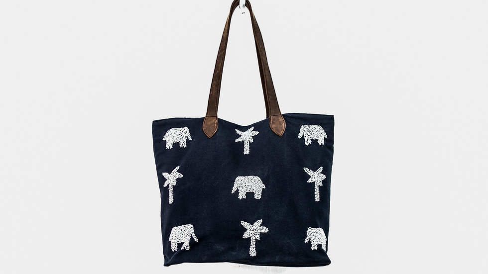 Queen Bead Navy & White Beaded Elephant & Palm Tote Bag