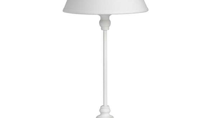 White Metal Table Lamp with White Shade