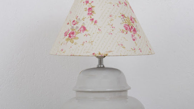 Ceramic Side Lamp with Floral Lamp Shade