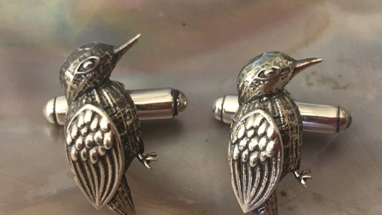 Sally Dudmesh Kingfisher Silver Cufflinks