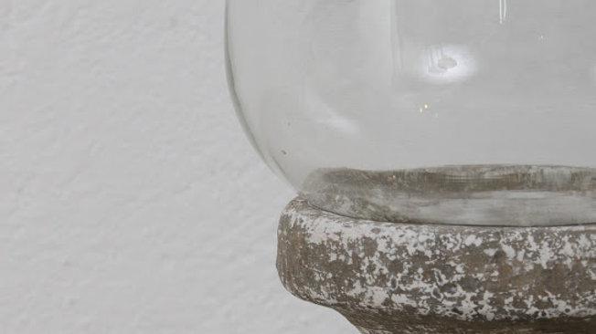 Aged Stone Ceramic Hurrican Lantern