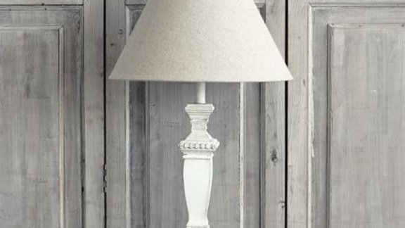 White Carved Wooden Table Lamp with Cream Linen Shade