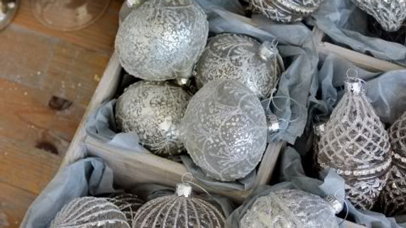 Silver Glass Baubles