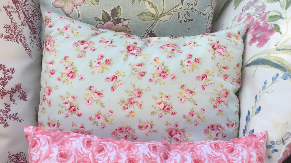 Pretty Cath Kidson Green and Pink Wild Rose Cushion