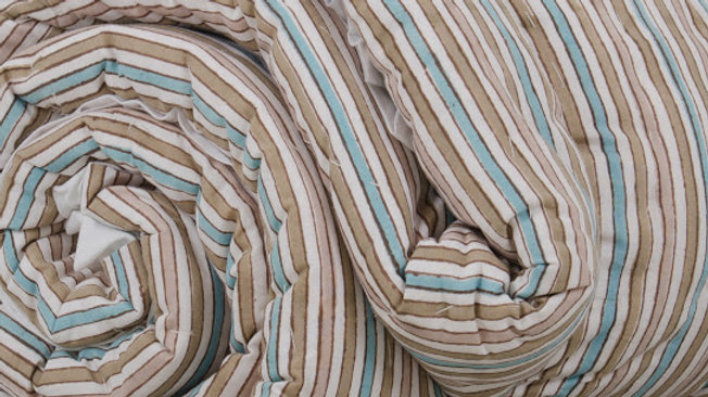 Beige, Green & White Striped King Bed Quilt