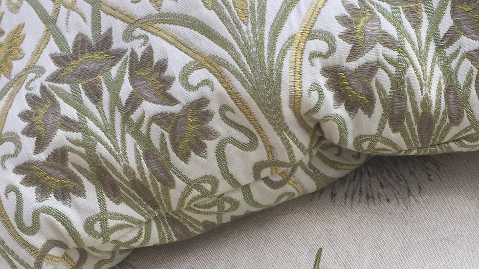 Art Nouveau themed gold and green cushion