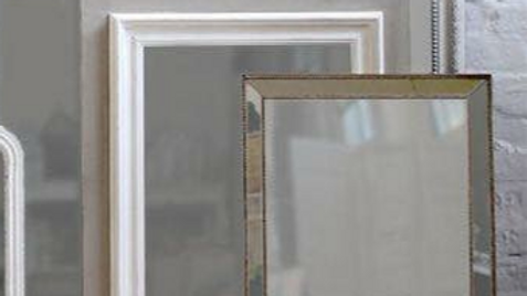 Two-Tone Wooden Mirror - Grey with White inside border left