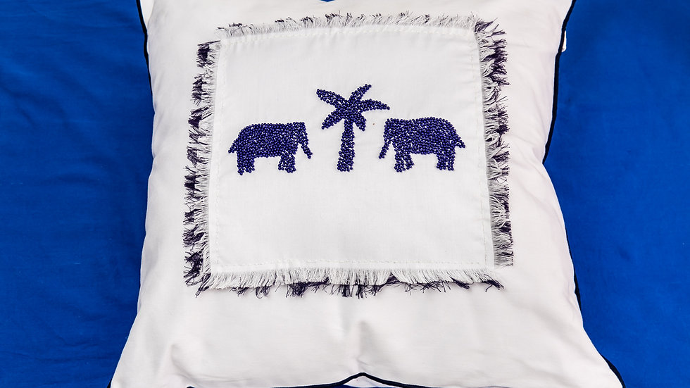 Queen Bead White & Blue Beaded Elephant Cushion