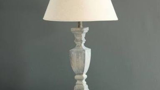Grey Wooden Table Lamp with Cream Shade