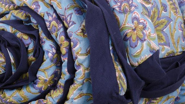 Light Bleu & Green Floral King Bed Quilt