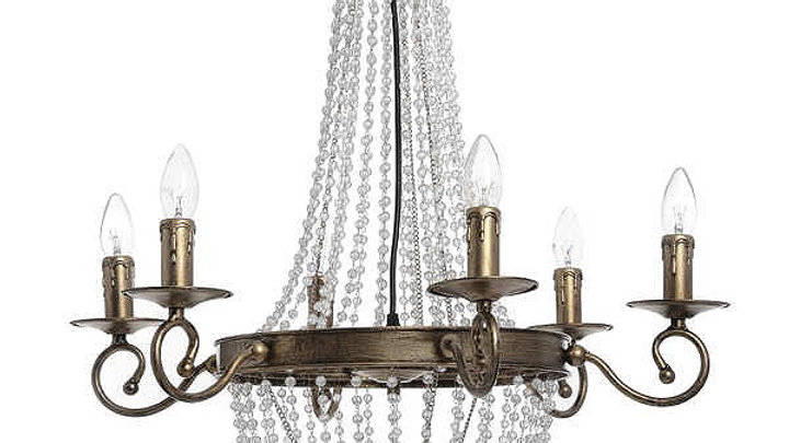 Gold and Glass Crystal Chandelier