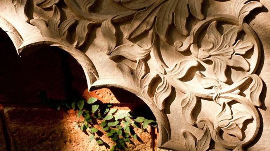 Carved Marble Corner Panel