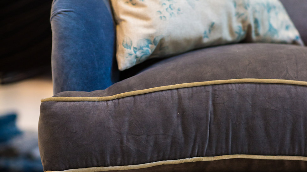 Blue Velvet Two-Seater Sofa