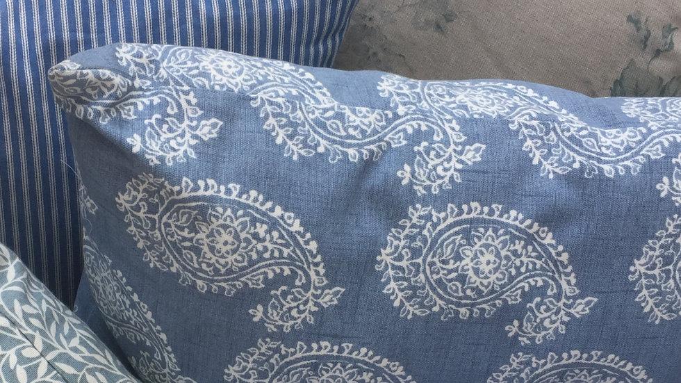 Cornflower blue and white paisley cushion