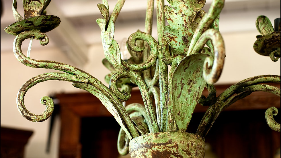 Green Distressed Wrought Iron Candleabra