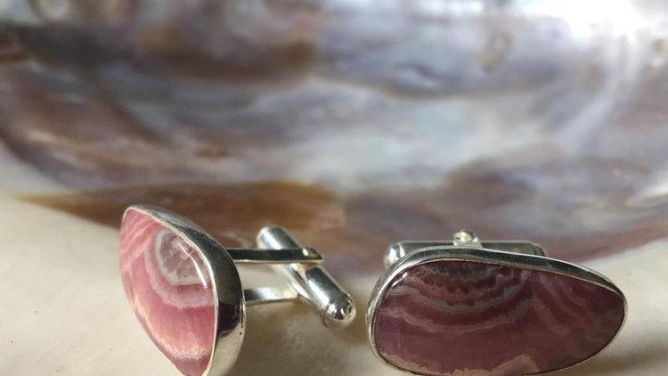 Sally Dudmesh Rhodochrosite Silver Cufflinks