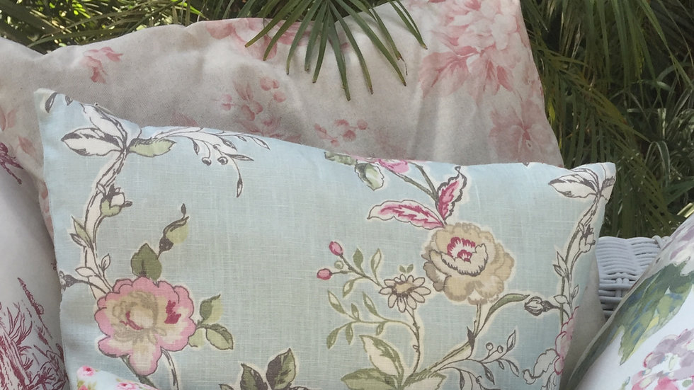 Mint and pink floral cushion