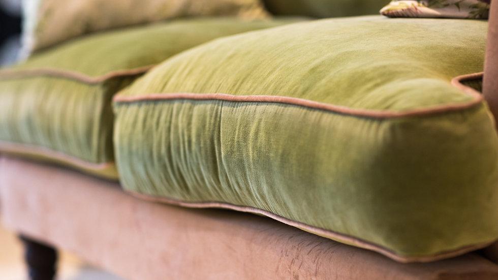 Pink & Green Velvet Two-Seater Sofa