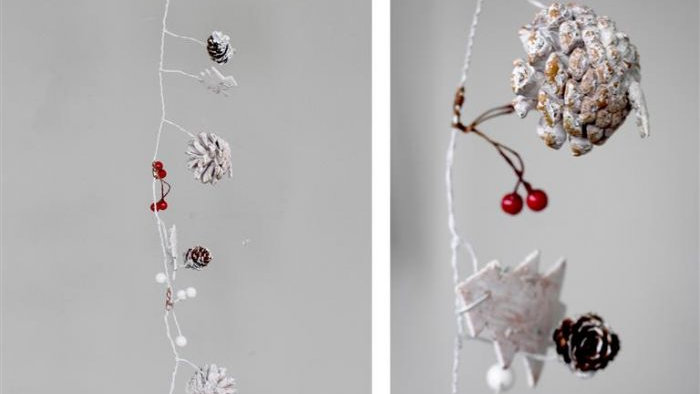 Metal and Pine Christmas Strand Decoration