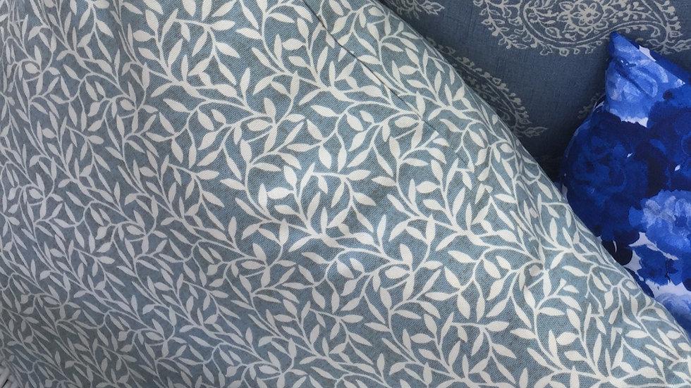 Cerulean Blue and White Leaf Cushion