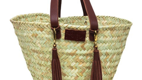 Penrose Small Wide Weave Basket, with hand cut leather tassels & handles